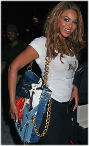 Beyonce with a $45,000 LV Tribute Patchwork Tote
